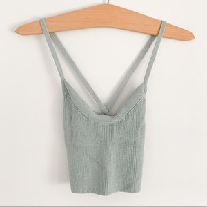 Wilfred (Aritzia) Knit Crop Top - Blue/Grey